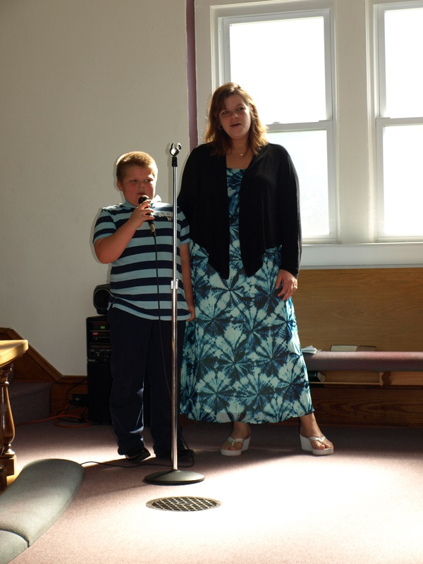 Mother & son singing
